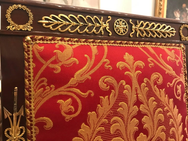 Four Italian Empire Style Chairs Mahogany with Ormolu Mounts  1970 Circa For Sale 5