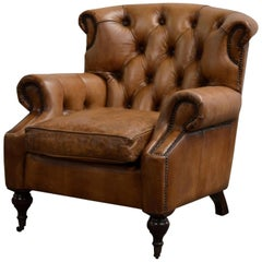 Four English Georgian Style Club Chair with Tufted Back, Lovely Hand Worn Patina