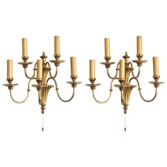 Four English Victorian Style Brass Five-Light Electrified Wall Sconces