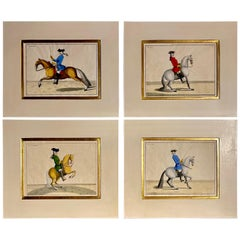 Four Engravings of Horse Riders L' Aimable, Le Joli, Le Sanspareil, Le Poupon