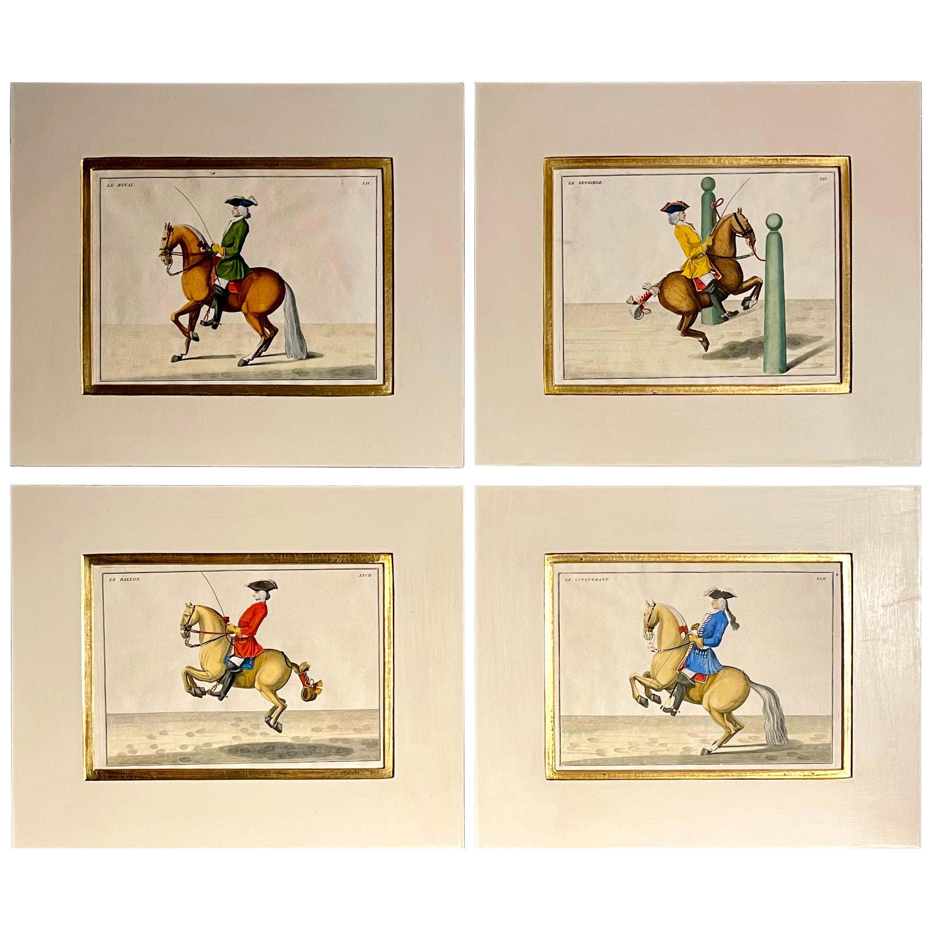 Four Engravings of Horse Riders Le Sensible, Le Royal, Le Conquerant, Le Ballon
