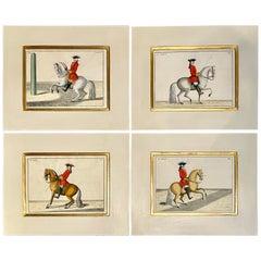 Four Engravings of Horse Riders Le Soldat, Le Grand, Le Diligent, L' Enjoue
