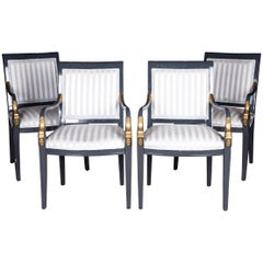 Four Exclusive Italian Armchairs Decorated with Gold