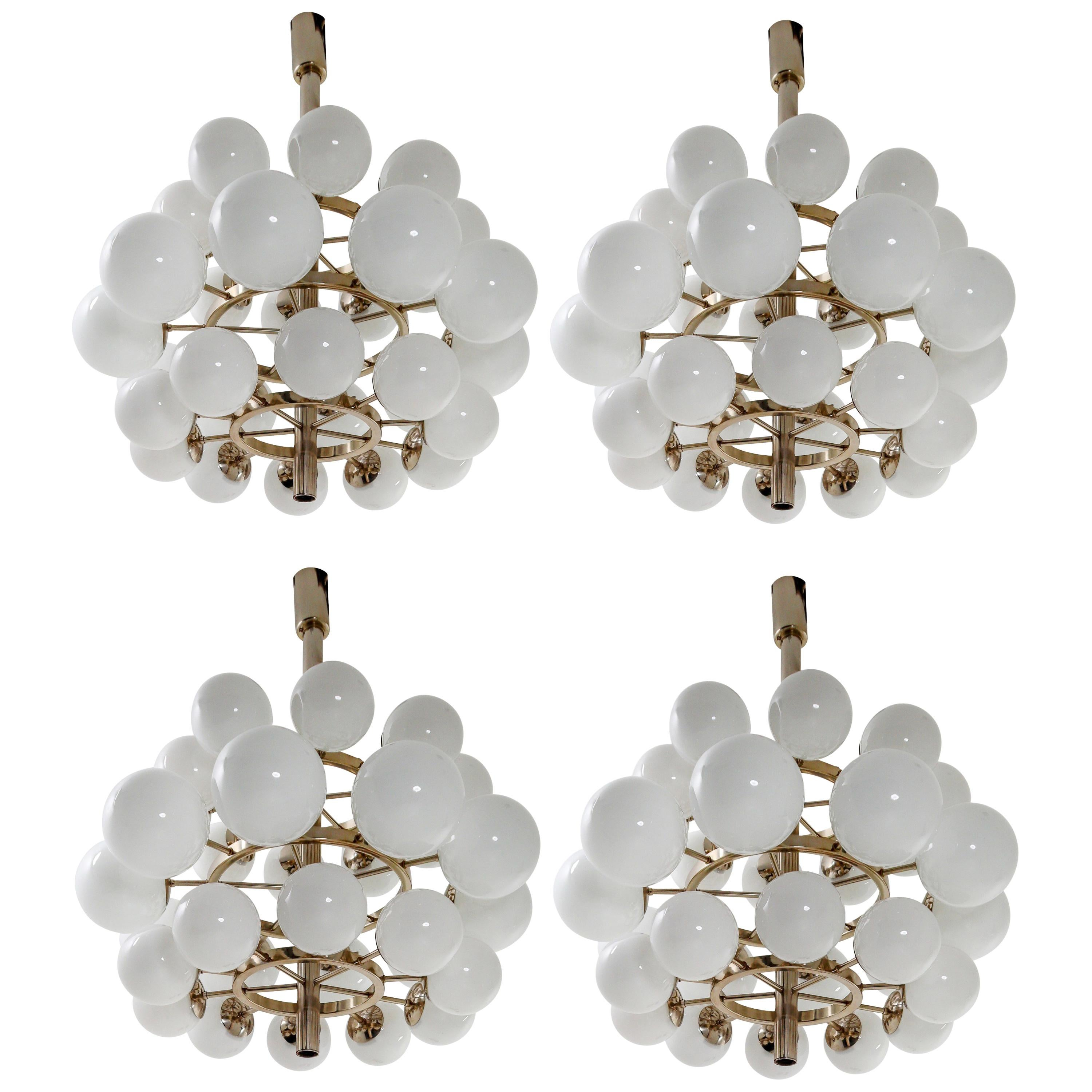 Four Extreme Large Chandeliers with 30 Handblown Opaline Glass Globes