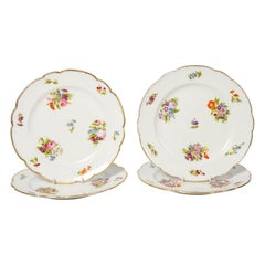 Four Feuillet Floral Dishes Made in France, circa 1850