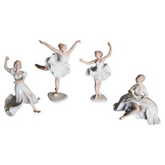 Four Figurines of Ballet Dancers, Ballerinas, Wallendorf, Germany