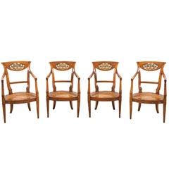Set of four Italian armchairs. Venice 19th century carved wood Italy Biedermeier