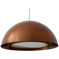 Four Flamed Mid-Century Modern Copper Pendant Lamp Hanging Light, 1960s, Denmark