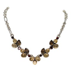 Four Flavor Stone Vintage Sterling Silver Necklace
