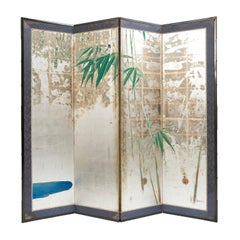 Four Fold Japanese Paper Screen, Early 20th Century