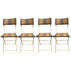 Four Foldable Garden Chairs in Rattan and Lacquered Iron