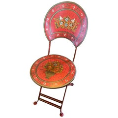 Four Foldable Painted Flowers Cast Iron Chairs / Price Per Set of 4
