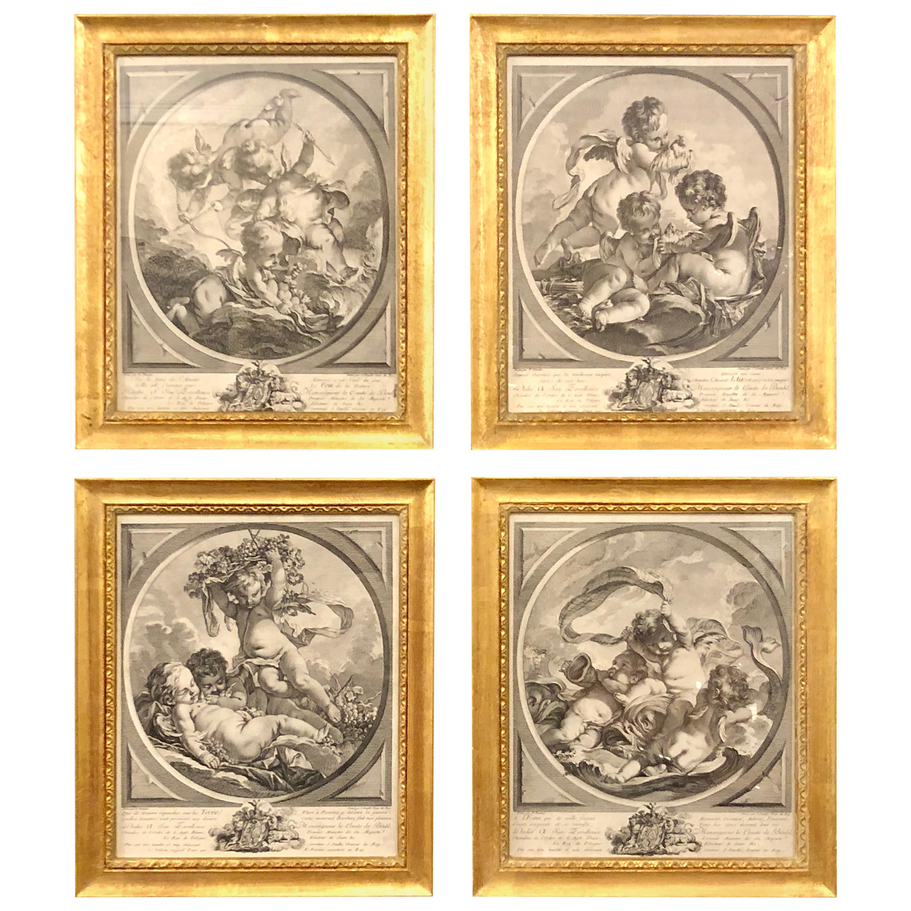 """Four Framed Elements """"Putti"""" Etchings after François Boucher's"""