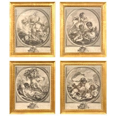 "Four Framed Elements ""Putti"" Etchings after François Boucher's"