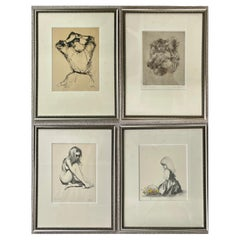 Four Framed Pencil Signed and Numbered Etchings, Finely Framed and Matted