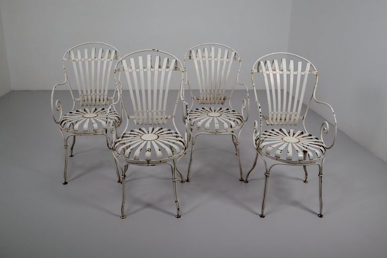 Metal Four Francois Carre Garden Chairs Commissioned by Le Corbusier, France, 1930s For Sale