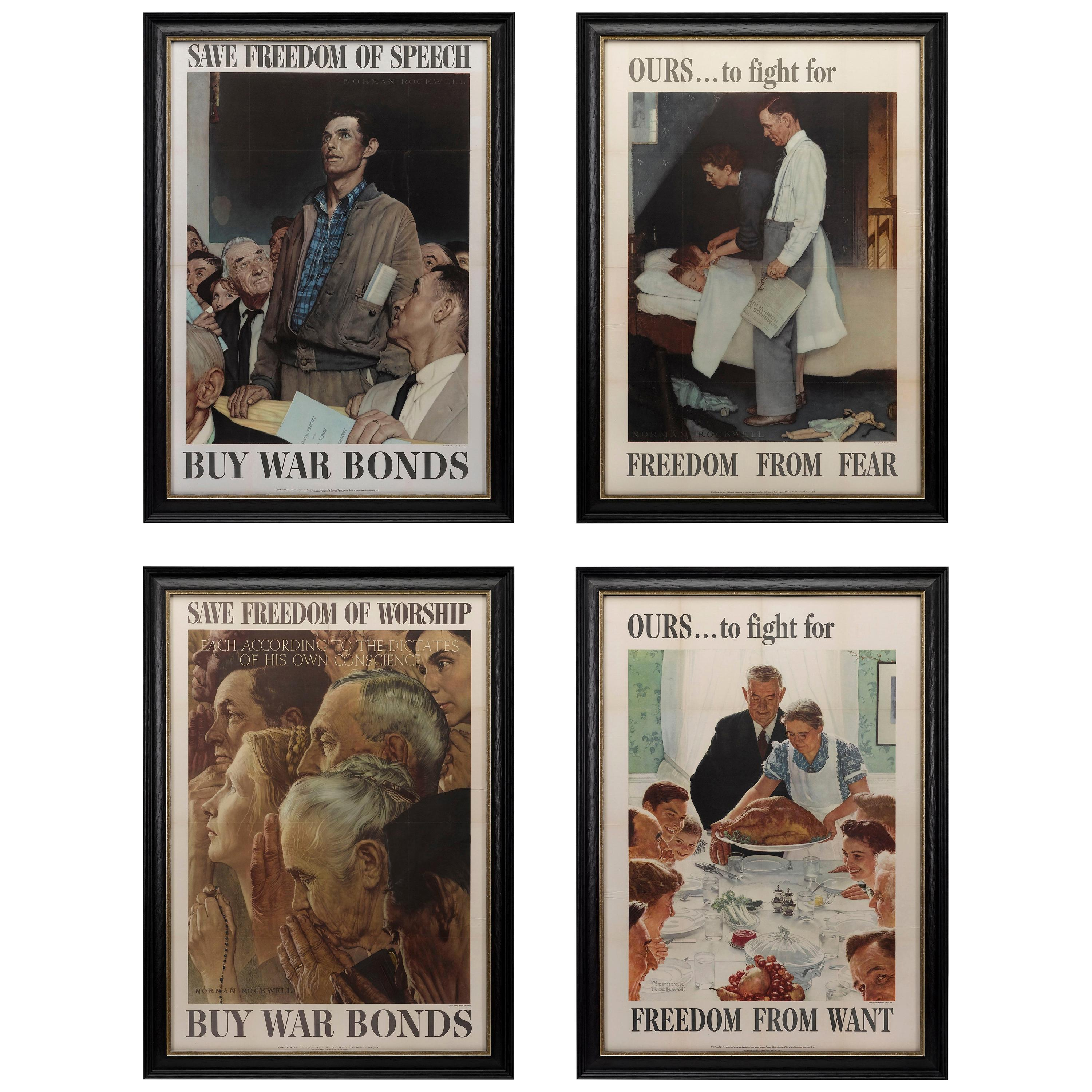 """""""Four Freedoms"""" Complete Set of Vintage Norman Rockwell Posters, 1943"""