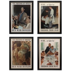 """Four Freedoms"" Complete Set of Vintage Norman Rockwell Posters, 1943"