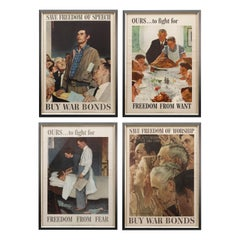 """""""Four Freedoms"""" Complete Set of Vintage Norman Rockwell Posters"""