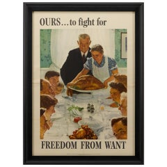 """""""Four Freedoms"""" Set of 4 Norman Rockwell World War II Bond Posters, circa 1942"""