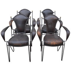 Four French 1950s Stitched Leather Patio Armchairs by Jacques Adnet