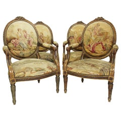 Four French 19th Century Louis XVI Style Giltwood Carved and Aubusson Armchairs