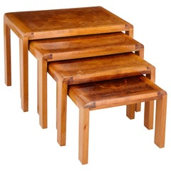 Four French Art Deco Parquetry Top Nesting Tables
