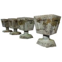 Four French Concrete Planters, circa 1950