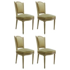 Four French Dining Chairs Louis XVI Revival Original Paint Upholstered