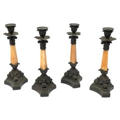 Four French Mid-19th Century Bronze and Sienna Marble Candlesticks by Deniere