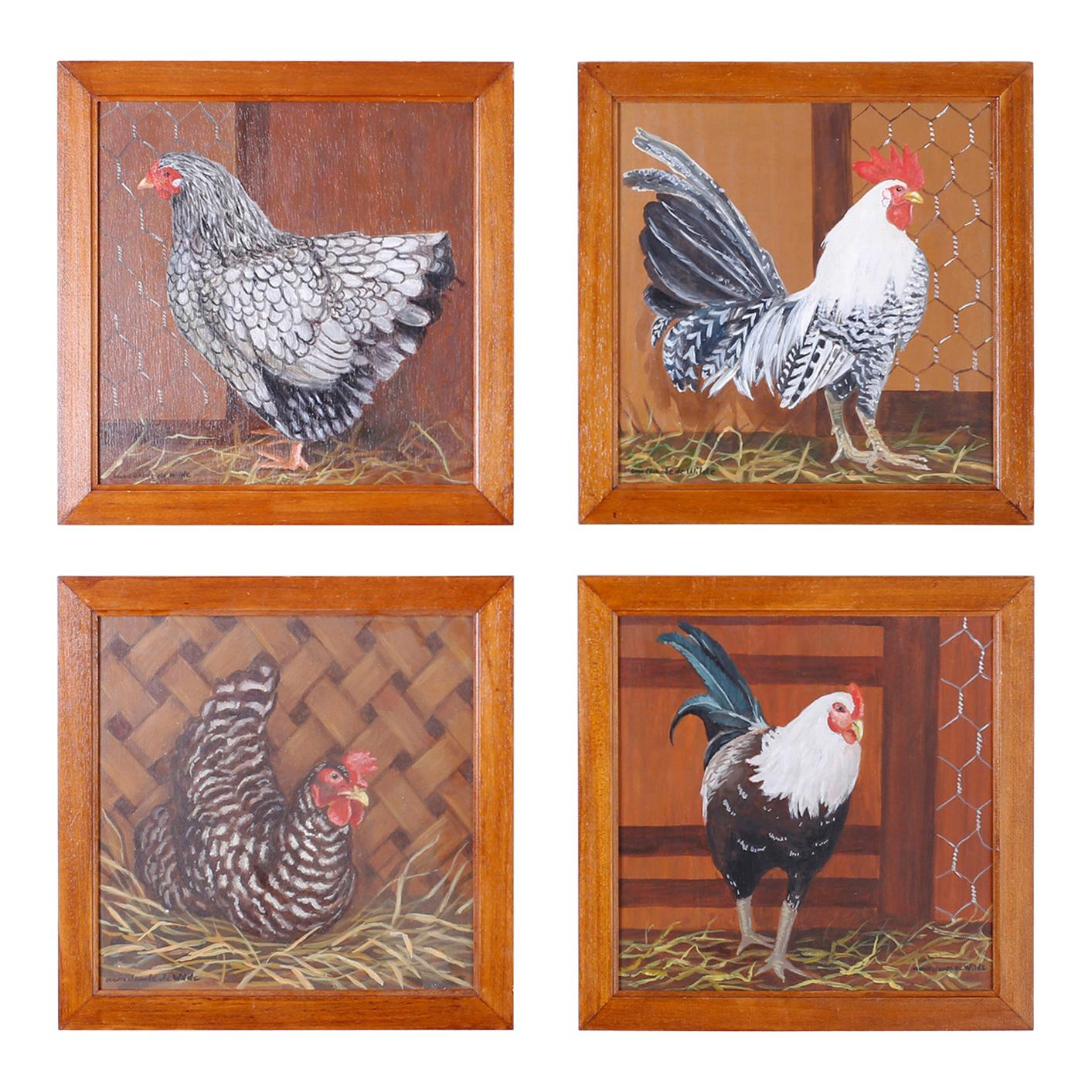 Four French Oil Paintings on Board of Chickens