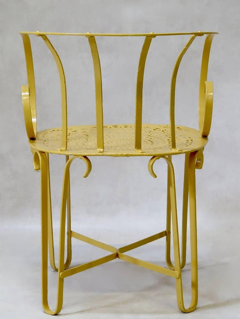 Four French Wrought Iron Garden Chairs Circa 1910 For