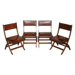 Four Fully Restored Cigar Brown Leather Harrods London Kennedy Campaign Chairs