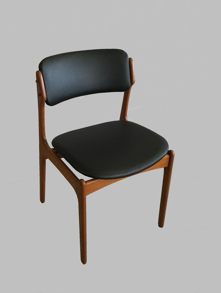 Scandinavian Modern Four Fully Restored Erik Buch Teak Dining Chairs, Reupholstered in Black Leather For Sale
