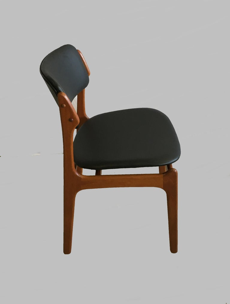 Danish Four Fully Restored Erik Buch Teak Dining Chairs, Reupholstered in Black Leather For Sale