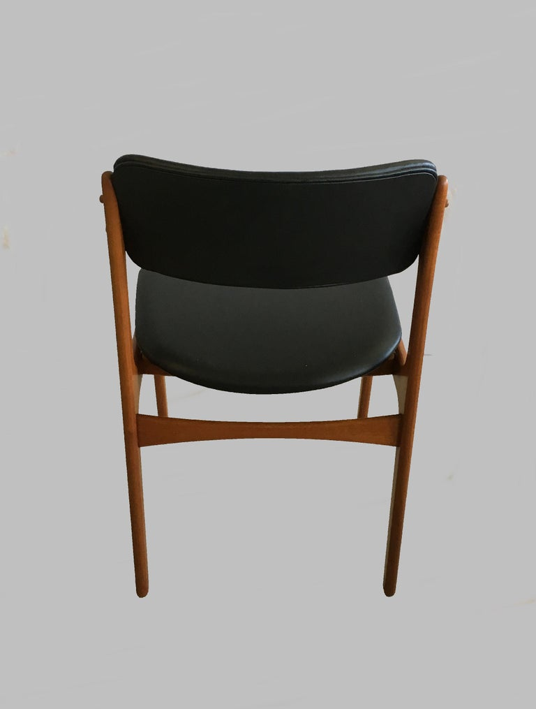 Mid-20th Century Four Fully Restored Erik Buch Teak Dining Chairs, Reupholstered in Black Leather For Sale