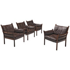 Four 'Genius' Chairs in Rosewood and Brown Leather by Illum Wikkelsø