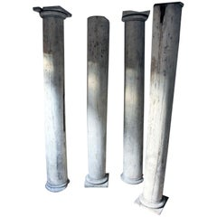 Four George III Period Lime Wash Painted Architectural Columns, circa 1790-1810