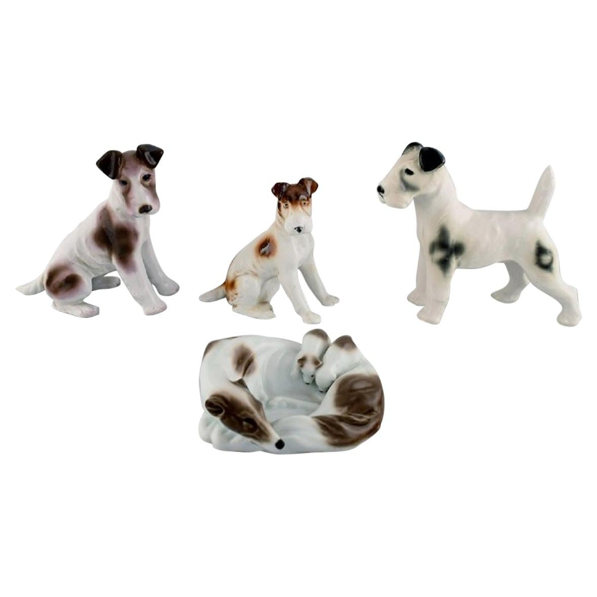 Four German Porcelain Figurines, Terrier and Greyhound with Puppies, 1960s