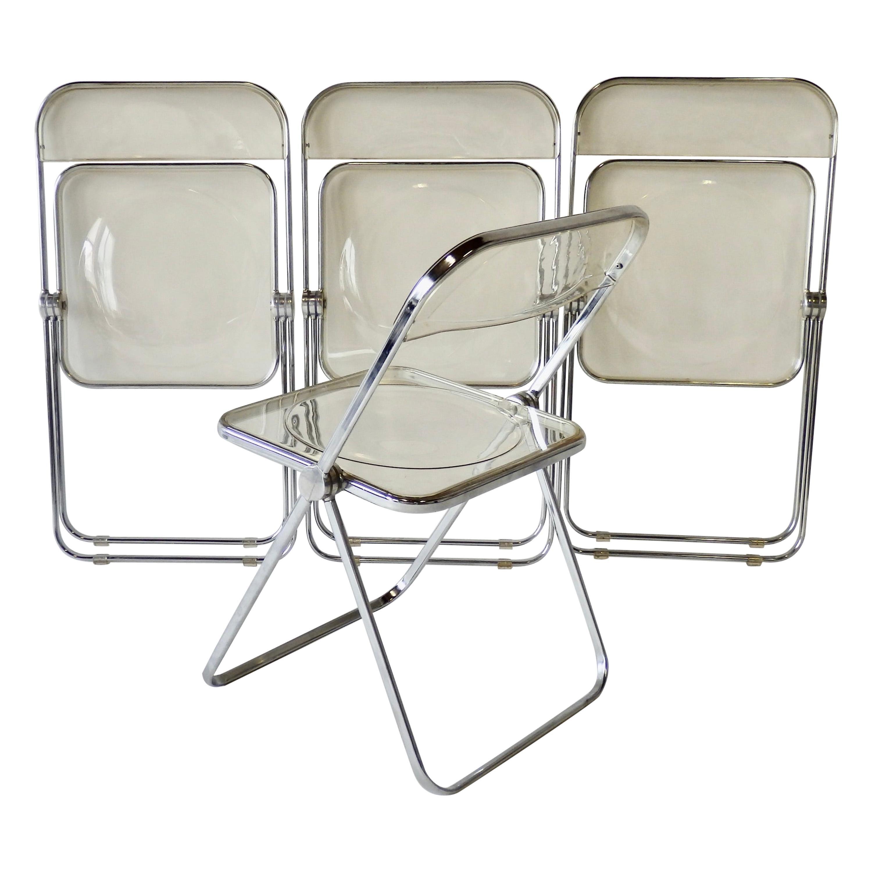 Four Giancarlo Piretti for Castelli Chrome Aluminum and Lucite Folding Chairs