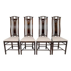 """Four Giorgetti Italian Dinning Armchairs """"Gallery"""", 1980s"""