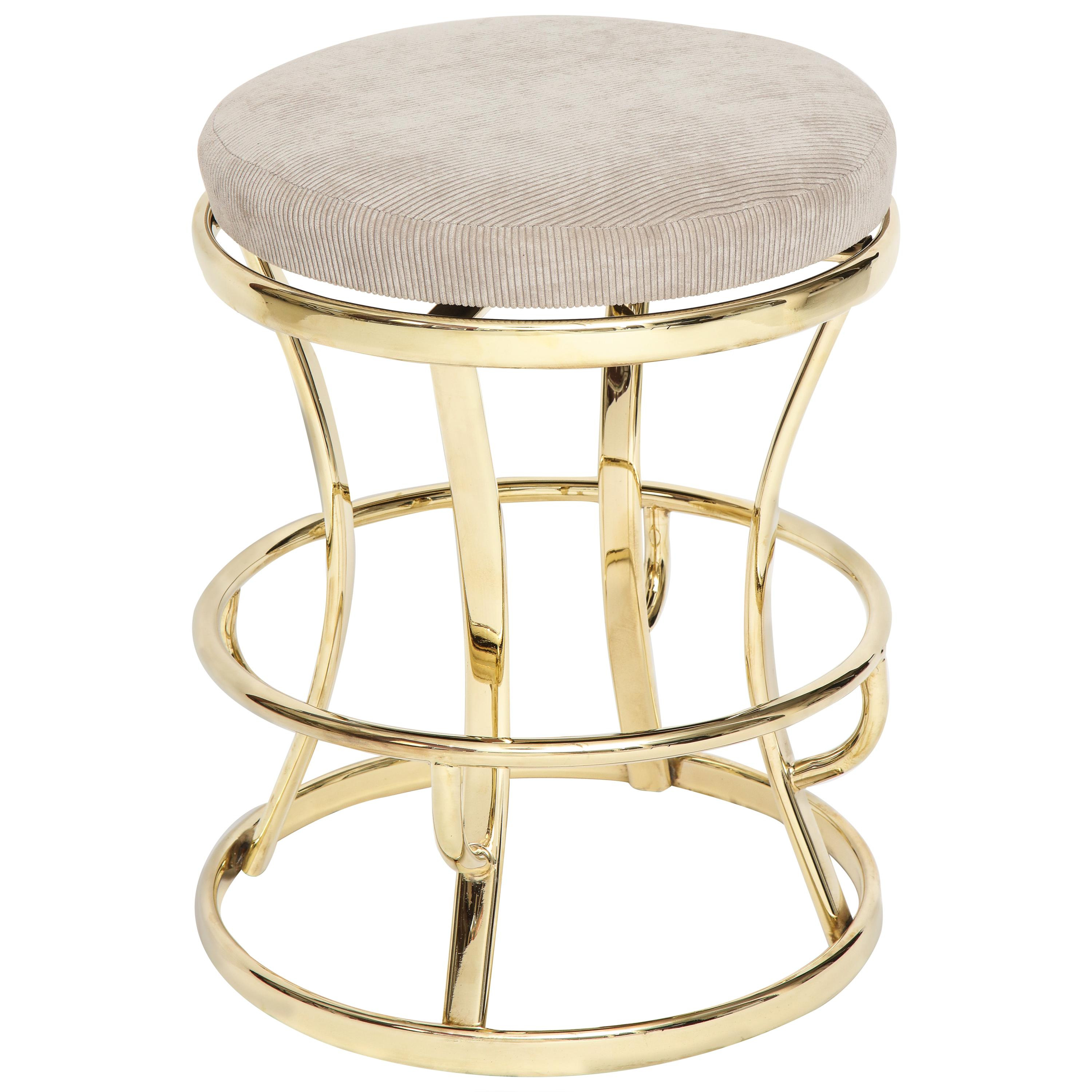 Four Glamorous Brass and Grey Barstools, Midcentury, France, 1970s