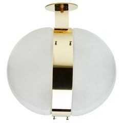 "Three Glass and Brass ""Clio"" Wall or Ceiling Lights by Sergio Mazza"