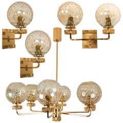 Four Gold-Plated Blown Glass Light Fixtures in the Style of Brotto, Italy, 1970