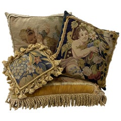 Four Gorgeous Petit Point and Needlepoint Throw Pillows Classical Scenes