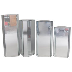 Four Graduated Mid-Century Modern Mirrored Faceted Plant Stands, circa 1960