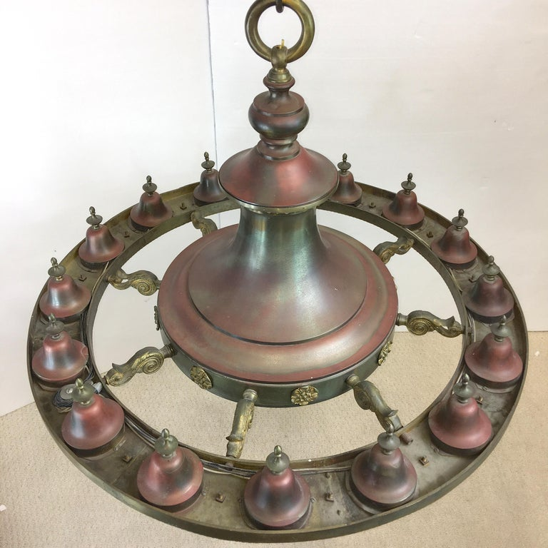 Four Grand Scale Bronze Lobby Chandeliers For Sale 2