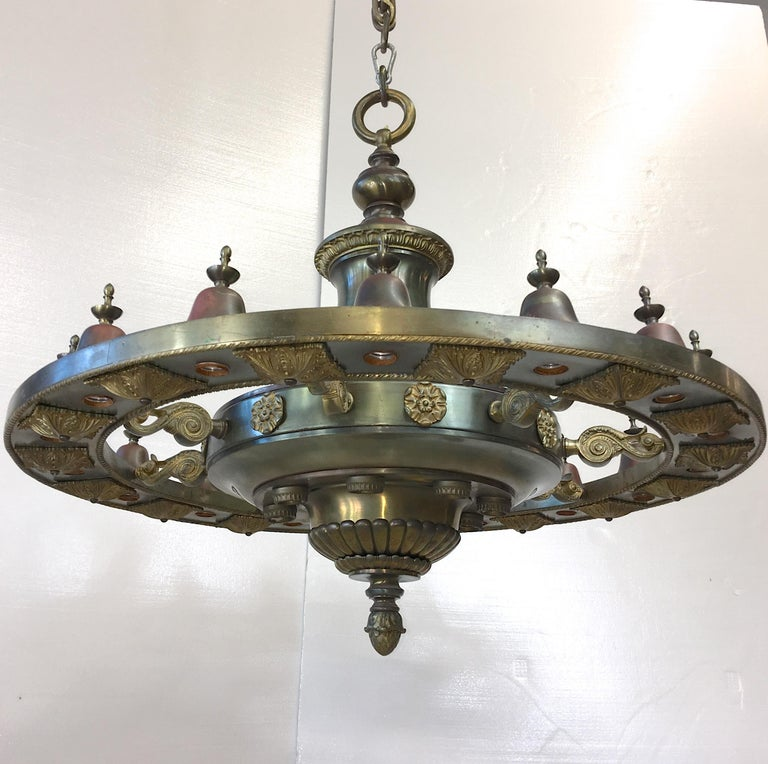 Four Grand Scale Bronze Lobby Chandeliers For Sale 6