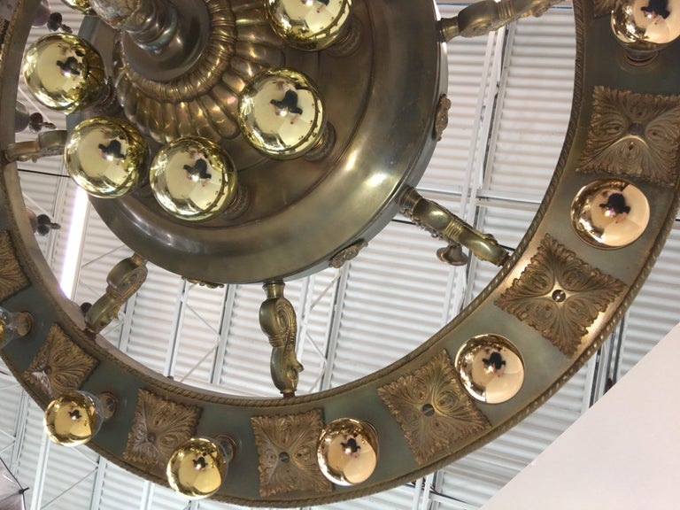 Four Grand Scale Bronze Lobby Chandeliers In Good Condition For Sale In Hingham, MA