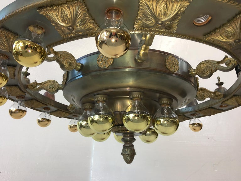 Early 19th Century Four Grand Scale Bronze Lobby Chandeliers For Sale